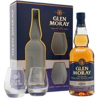 70cl / 40% / Distillery Bottling - Glen Moray's Classic range of bottlings always represent great value. This gift set contains two glasses and a bottle of the expression which is finished in port casks, adding sweetness and extra richness.