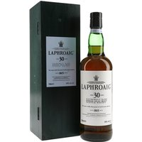 75cl / 43% / Distillery Bottling - Originally released around 2000, this great dram is becoming rarer and rarer.  Laphroaig 30yo has garnered many plaudits, including a Double Gold Medal at the San Francisco World Spirits Competition 2005.