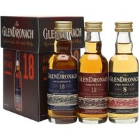 15cl / 45% / Distillery Bottling - A set of three miniature bottles of Glendronach - one each of the 8 Year Old, 12 Year Old and 18 Year Old.  A perfect way to try the distillery's range.