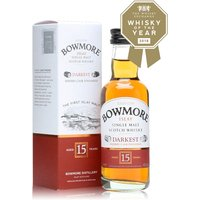 5cl / 43% / Distillery Bottling - A mini bottle of Bowmore's excellent Darkest - a sherry matured whisky kept in wood for at least 15 years to give a rich and smoky dram.