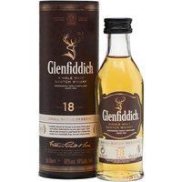 5cl / 40% / Distillery Bottling - A miniature bottle of Glenfiddich 18 year old.  Matured in a mixture of Spanish oloroso casks and American oak for a rich and fruity whisky.