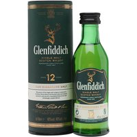 5cl / 40% / Distillery Bottling - A miniature bottle of Glenfiddich's award winning 12 year, a staple of almost every bar in the country.  Aged in a  combination of American bourbon and Spanish sherry oak casks, this is mellow yet complex and offers exceptional value.