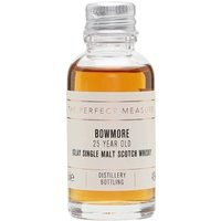 3cl / 43% / The Perfect Measure - Bowmore 25 Year Old uses a high proportion of sherry casks in the blend. Rich and smoky with notes of toffee and hazelnut.