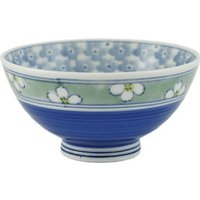 Ceramic Rice Bowl - Blue, Assorted Flower Patterns