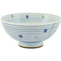 Ceramic Rice Bowl - White, Blue Lines And Dots Pattern