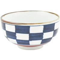 Ceramic Rice Bowl - Blue, Check Pattern