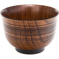 Wooden Miso Soup Bowl - Ribbed