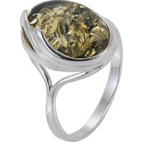 Goldmajor Green Amber Oval Silver Ring