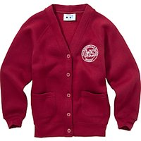 Halterworth Primary School Girls V-Neck Cardigan, Maroon