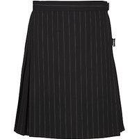 Girls Pinstripe School Kilt, Black