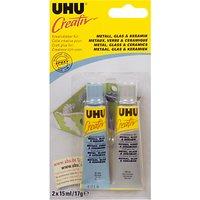UHU Creativ Craft Glue, Metal/Glass/Ceramic, 2x15ml