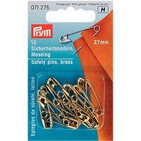 Prym Safety Pins, Brass, 27mm, Pack of 12