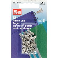 Prym Hooks and Eyes, Pack of 12