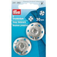 Prym Sew-On Snap Fasteners, 30mm, Pack of 2, Silver