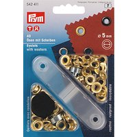 Prym Brass Eyelets and Washers, 5mm, Gilt, Pack of 40