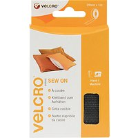 VELCRO Brand Sew-On Tape, 20mm x 1m, Black