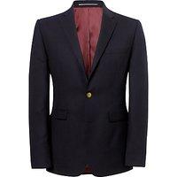 John Lewis Hopsack Merino Wool Single Breasted Blazer, Navy