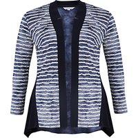 Chesca Tie Dye Stripe Fancy & Plain Jersey Cardigan, Navy