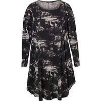 Chesca Printed Tunic Dress, Black/Grey