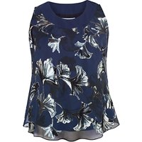 Chesca Fan Print Cami Top, Navy