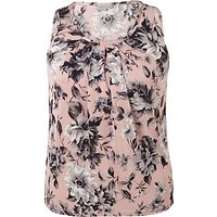 Chesca Rose Print Tuck Top, Powder Pink