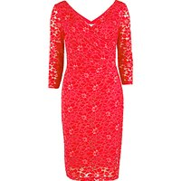 Gina Bacconi Stretch Lace Ruched Dress, Bright Red