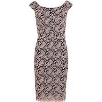Gina Bacconi Scalloped Lace Off Shoulder Dress, Bright Pink