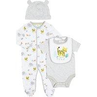John Lewis Baby Elephant Sleepsuit, Bodysuit, Bib and Hat Set, White