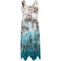 Chesca Printed Ombre Crush Pleat Dress, Ivory/Turquoise