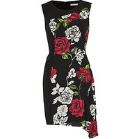 Gina Bacconi Moss Crepe Rose Georgette Dress, Red/Black