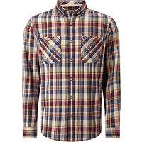 John Lewis Flannel Cotton Check Shirt, Burgundy