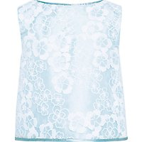 John Lewis Heirloom Collection Girls Floral Organza Top, Blue