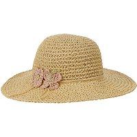 John Lewis Girls Straw Crochet Floppy Hat, Natural