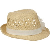 John Lewis Girls Straw Trilby Hat with Corsage, Natural