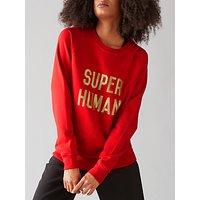 Selfish Mother Super Human Crew Neck Sweatshirt, Red/Gold