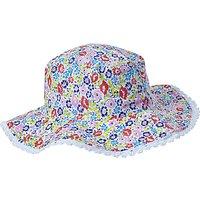 John Lewis Childrens Reversible Ciara Floral and Stripe Sun Hat, Multi