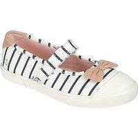 John Lewis Childrens Daisy Mary Jane Shoes, White/Navy