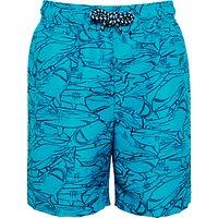 John Lewis Boys' Sketch Shark Board Shorts, Teal