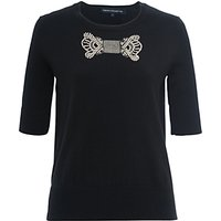 French Connection Jewel Bow Knit Jumper, Black