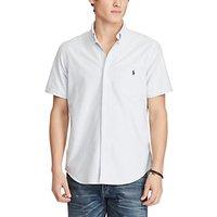Polo Ralph Lauren Standard Fit Short Sleeve Striped Oxford Shirt, Blue/White