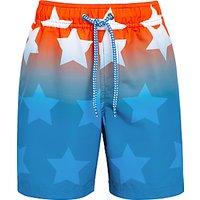 John Lewis Boys' Star Board Shorts, Coral/Blue