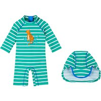 John Lewis Baby Leopard SunPro Swimsuit and Hat, Green/Multi