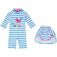 John Lewis Baby Butterfly Striped SunPro Swimsuit and Hat, White/Blue