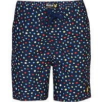 Lyle & Scott Boys' Dots Print Swim Shorts, Indigo/Multi