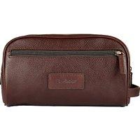 Barbour Leather Wash Bag, Dark Brown