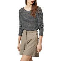 Selected Femme Mind Stripe Linen Top, Black/Snow White