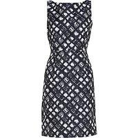 Gina Bacconi Geometric Jacquard Dress, Spring Navy