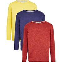 John Lewis Boys Long Sleeve T-Shirt, Pack of 3, Blue/Rust/Yellow