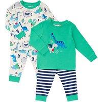 John Lewis Baby Jersey Dinosaur Long Sleeve Pyjamas, Pack of 2, Green/Multi