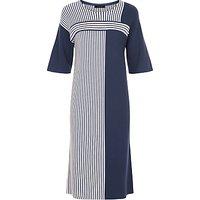 Jaeger Block Stripe Knit Dress, Navy / Ivory